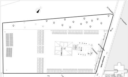 Der geplante Logistikstandort: Eine große Umschlaghalle für Glas, Holz und Kunststoff ist auf dem Gelände ebenso geplant wie Werkstätten und ein Verwaltungsgebäude. Grafik: Schönmackers Umweltdienste/pp/Agentur ProfiPress
