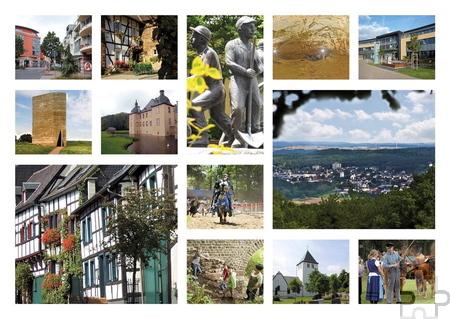 Neben kompletten Stadtansichten präsentieren die Postkarten Impressionen aus dem historischen Kommerner Ortskern, aus dem Freilichtmuseum, von römischen Relikten, Kirchen, Burgen und Schlössern sowie weiteren Sehenswürdigkeiten im Stadtgebiet. Grafik: Marike Lotz-Colditz