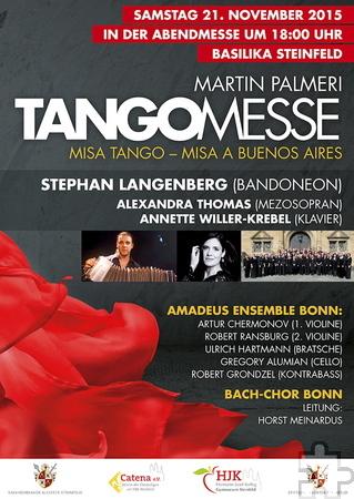 In der Basilika Steinfeld steht die Abendmesse am Samstag, 21. November, um 18 Uhr ganz im Zeichen des Tangos. Grafik: Veranstalter