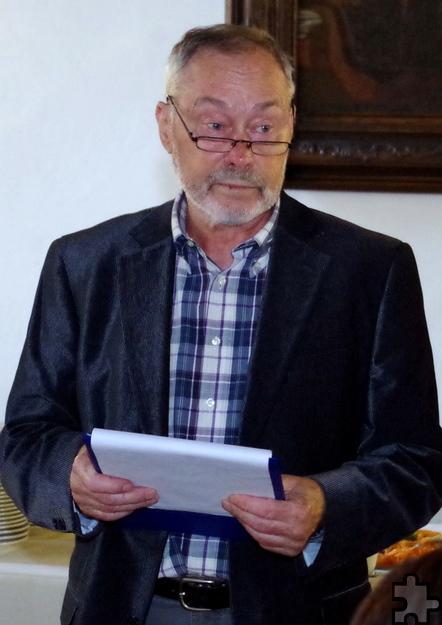 Der Vorsitzende Erwin Müller hielt keine lange Rede, sondern bedankte sich mit wenigen Worten bei den Ehrenamtlern und den Unterstützern. Foto: Johannes Mager/pp/Agentur ProfiPress