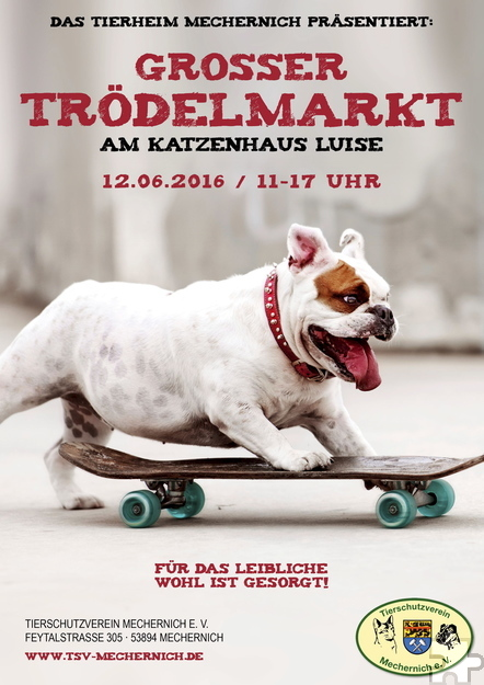 Mit diesem Plakat wirbt der Tierschutzverein Mechernich für seinen nächsten Trödelmarkt am Sonntag, 12. Juni, ab 11 Uhr. Repro: pp/Agentur ProfiPress
