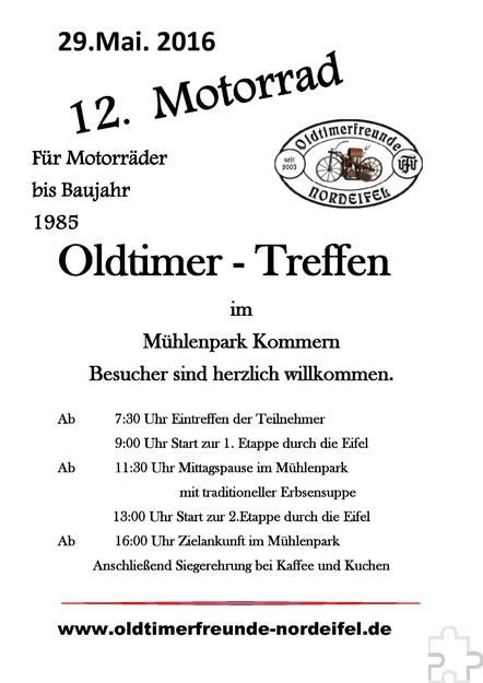 Mit diesen Aushängen machen die Oldtimerfreunde Nordeifel zurzeit auf ihr zwölftes Veteranentreffen am Sonntag, 29. Mai, im Mühlenpark aufmerksam. Grafik: Oldtimerfreunde Nordeifel/pp/Agentur ProfiPress