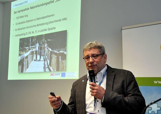 Neuer stellvertretender Nationalparkchef wurde Michael Lammertz, hier bei einem Referat auf der Internationalen Tourismusbörse ITB in Berlin. Archivfoto: Manfred Lang/pp/Agentur ProfiPress