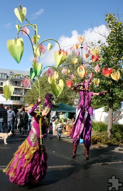 Fantastisch bunt zogen diese beiden wie Paradiesvögel durch die Straßen von Mechernich. Foto: Steffi Tucholke/pp/Agentur ProfiPress