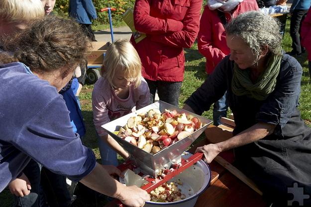 Vor dem Pressen müssen Äpfel gemahlen und gemaischt werden, egal ob man sie als Saft frisch verzehrt, einkocht oder zu Wein vergärt. Foto: Hans-Theo Gerhards/LVR/pp/Agentur ProfiPress