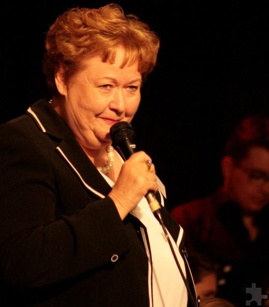 Rita Gerdemann begrüßte in ihrer Funktion als Vorstandsmitglied die zahlreichen Besucher des GAT-Benefizkonzertes für Donum Vitae. Foto: Carolin Daamen/ pp/Agentur ProfiPress