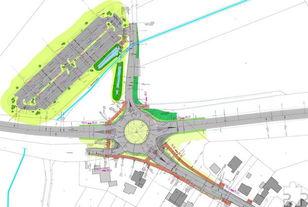 An der B477/Abzweig Breitenbenden entsteht ein großer Kreisverkehr mit fünf Straßenästen, unter anderem zu einem neuen Pendlerparkplatz mit 133 Stellplätzen. Grafik: MR Ingenieurgesellschaft/pp/Agentur ProfiPress