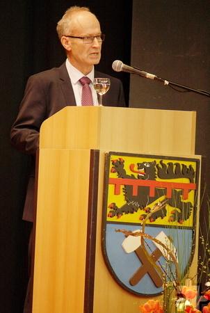 Bürgermeister Dr. Hans-Peter Schick widmete sich in seiner Ansprache zum städtischen Jahresempfang der Städtepartnerschaft Mechernich-Nyons als Teil eines vereinten Europas. Foto: Steffi Tucholke/pp/Agentur ProfiPress