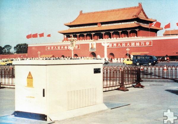 Eine Lahmeyer-Compactstation steht auch auf dem Platz des Himmlischen Friedens in Peking. Repro: Sarah Winter/pp/Agentur ProfiPress