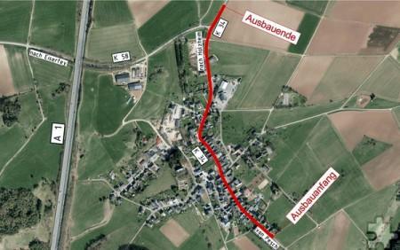 Auf einer Länge von 850 Metern wird die durch Harzheim führende Kreisstraße 34 erneuert. Foto: Kreis Euskirchen/pp/Agentur ProfiPress
