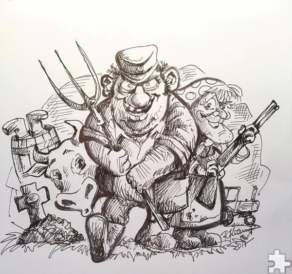 Die Eifeler haben sich für einen mörderischen Abend in Richtung Aachen aufgemacht. Zeichnung: Ralf Kramp/pp/Agentur ProfiPress