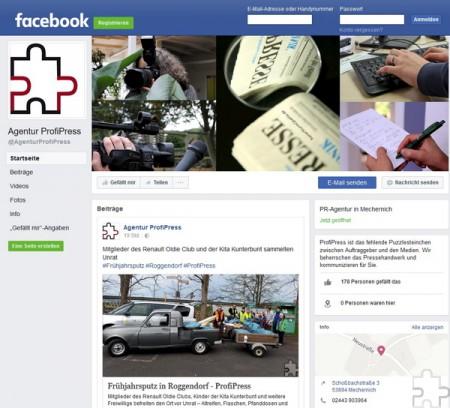 Seit vergangenem Herbst ist ProfiPress bei Facebook zu finden. Dort können Sie Fan unseres Auftritts werden, unsere Beiträge kommentieren oder auch mit uns in Kontakt treten. Screenshot: pp/Agentur ProfiPress