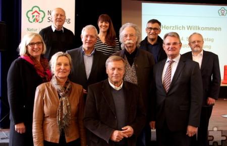 Alle Gesprächspartner von Carina Vogt (hinten Mitte) auf einen Blick, darunter auch Präsident Harry Voigtsberger (vorne, 2.v.l.) und dessen Stellvertreter Professor Wolfgang Schumacher (hinten, links). Foto: Thomas Schmitz/pp/Agentur ProfiPress