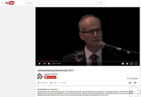 Auch wir setzen verstärkt auf Bewegtbild. Neben kurzen Videos bei Facebook können Sie auf unserem YouTube-Kanal auch längere Filme, etwa von den Jahresansprachen des Mechernicher Bürgermeisters, ansehen. Screenshot: pp/Agentur ProfiPress